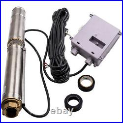 230V 39m Deep Well Water Pump Stainless Steel Tank 3800 L/h 370W & Cable 2850RPM