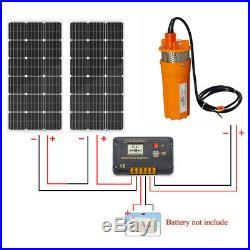 2x100W Solar Panel Module+ 24V DC Submersible Water Pump Deep Well Pump Fountain