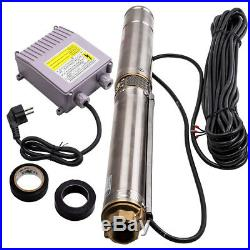 3 0.5HP 3800L/H Deep Well Pump Stainless Steel Submersible Borehole Pump