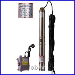 3 0.5HP 3800 L/H Deep Well Pump Stainless Steel Submersible Borehole Pump New