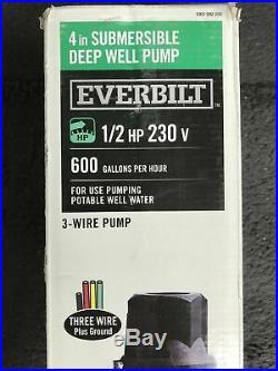 Everbilt 1/2 HP Submersible 3-Wire Motor 10 GPM Deep Well Pump 230V 600GPH