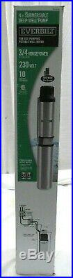 Everbilt EFSUB7-122HD 3/4 HP 2-Wire 10 GPM 230V 4 Submersible Deep Well Pump