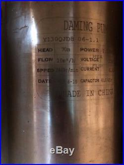 NEW Daming Submersible Pump 4 Deep bore Well 1.5HP, 220V