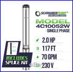 SCHRAIBERPUMP 4 Deep Well Submersible Pump 2HP 230v 143ft 75GPM 63maxPSI 2wire