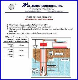 Submersible Pump, 4 Deep Well, 1 HP, 220V, 33 GPM, 207 ft Max, long life