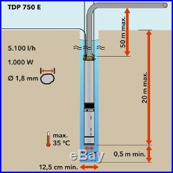 TROTEC Deep Well Pump TDP 750 E Water pump Garden pump Submersible pump